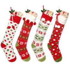 Set of 4 Knitted Traditional Christmas Stockings