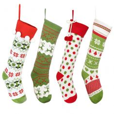 Set of 4 Knitted Christmas Stockings