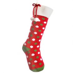 Knitted Red Polka Dot Stocking