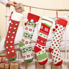 Set of 4 Merry and Bright Knitted Christmas Stockings