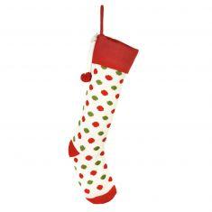Knitted White Polka Dot Stocking