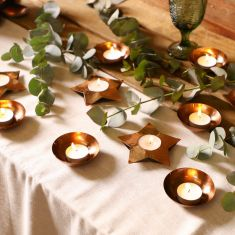 Set of 9 Contemporary Copper Tealight Holders