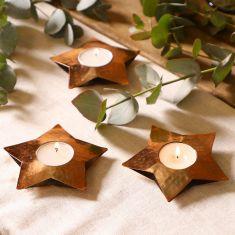 Set of 3 Hammered Copper Star Tea Light Holders