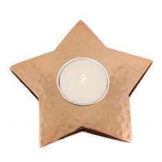 Hammered Copper Star Tea Light Candle Holder
