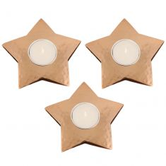 Set of 3 Hammered Copper Star Tea Light Holders