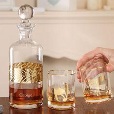 Personalised Savannah Gold Decanter and Tumblers Gift Set