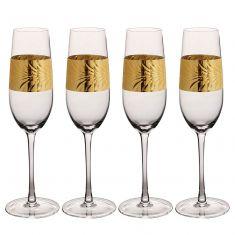 Set of 4 Gold Leaf Champagne Flutes