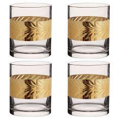Set of 4 Gold Leaf Whisky Tumblers