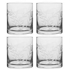 Set of 4 Botanical Etched Glass Tumblers