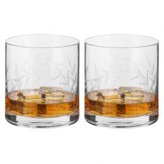 Set of 2 Luxury Etched Leaf Whiskey Tumblers