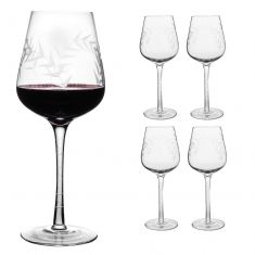Set of 4 Botanical Etched Wine Glasses