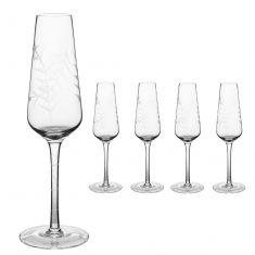 Set of 4 Botanical Etched Champagne Flutes