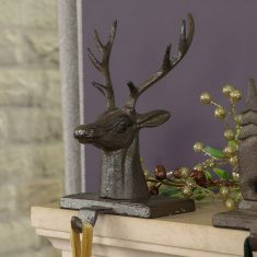 Cast Iron Stag Head Christmas Stocking Holder