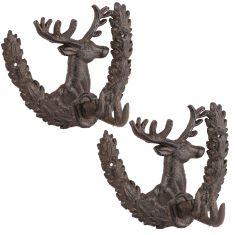 Set of 2 Cast Iron Deer Wall Hooks
