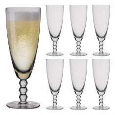 Set of 6 Bella Perle Beaded Stem Champagne Flutes