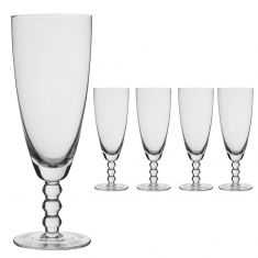 Set of 4 Bella Perle Beaded Stem Champagne Flutes