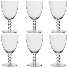 Set of 6 Bella Perle Beaded Stem Wine Glasses