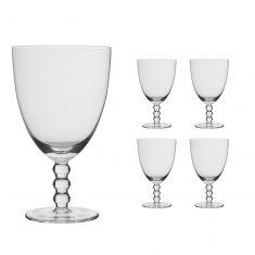 Set of 4 Bella Perle Beaded Stem Wine Glasses