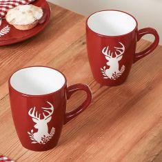 Set of 2 Red Reindeer Mugs