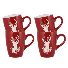 Set of 4 Stoneware Red Reindeer Mugs