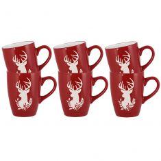 Set of 6 Christmas Cranberry Stag Mugs