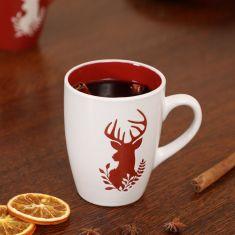 Set of 4 White Christmas Reindeer Mugs