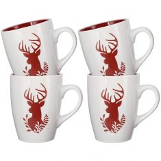 Set of 4 White Christmas Reindeer Mugs