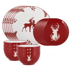 18 Piece Red Stoneware Dinner Set
