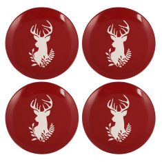 Set of 4 Stoneware Red Reindeer Plates