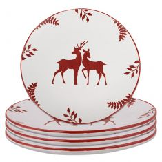 Set of 4 Red Stoneware Reindeer Dinner Plates