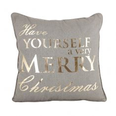 Grey and Gold Merry Christmas Cushion