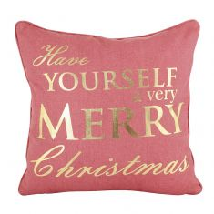 Red and Gold Merry Christmas Cushion