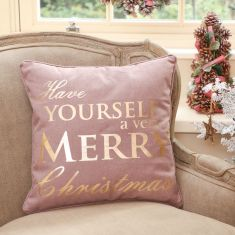 Purple and Gold Merry Christmas Cushion