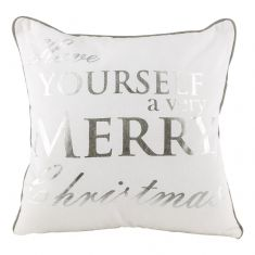 Silver and White Merry Christmas Cushion