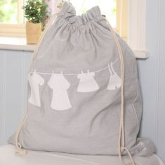 Grey Draw String Laundry Bag