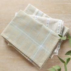 Set of 3 Blue Farmhouse Style Tea Towels