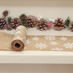 Jute Snowflake Christmas Table Runner