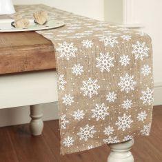 Extra Wide Jute Snowflake Table Runner