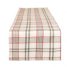 Cream Plaid Table Runner