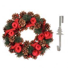 Traditional Roses Wreath and Wreath Door Hanger