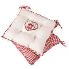 Set of 2 Gingham Stag Seat Pads With Ties