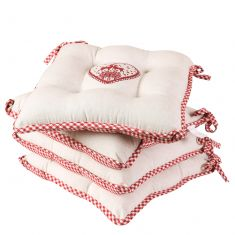 Set of 4 Country Stag Gingham Garden Seat Pads