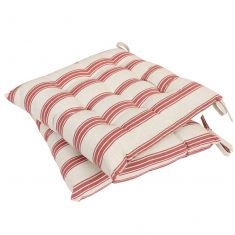 Set of 2 Red Farmhouse Stripe Seat Pads