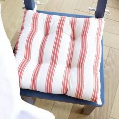 Set of 2 Red Farmhouse Stripe Seat Pads