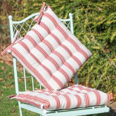 Set of 2 Country Style Red Striped Garden Seat Pads