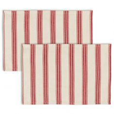 Set of 2 Red Stripe Fabric Place Mats