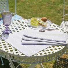 Set of 2 Blue Heart French Country Fabric Place Mats