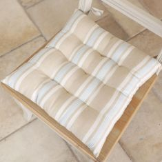 Set of 2 Millstone Blue Farmhouse Seat Pads with Ties