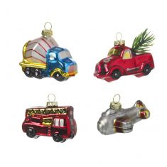 Set of 4 Metallic Vintage Transport Baubles