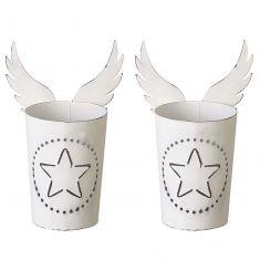 Set of 2 Angel Wings Winter White Tealight Holders